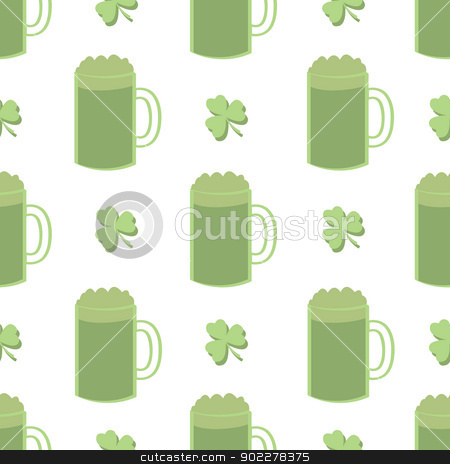 Seamless Shamrocks and Green Beer stock vector clipart, A seamless pattern of alternating shamrocks and green beer or ale. by Jamie Slavy