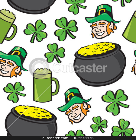 Seamless St. Patricks Day Stuff stock vector clipart, A seamless pattern of well known Saint Patricks Day symbols. by Jamie Slavy