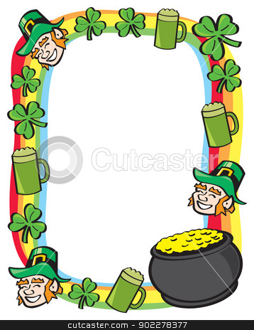 Saint Patricks Day Border stock vector clipart, A border made up of cartoon Saint Patricks Day symbols aurrounded by a rainbow. by Jamie Slavy