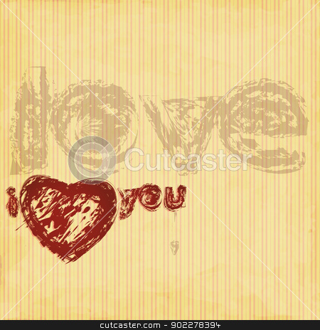 grunge love stock vector clipart, new heart symbol on vintage style background can use like greetings card by metrue