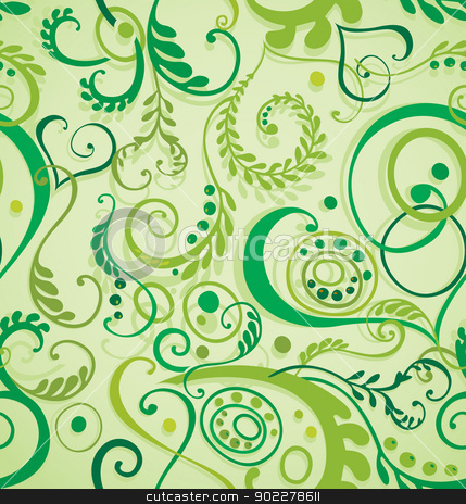 Seamless floral background stock vector clipart, Decorative curly seamless floral background with leaves and grass by Allaya