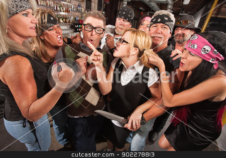 Woman Pointing at Thugs in Bar stock photo, Female nerd with husband confronting biker gang thugs in bar by Scott Griessel