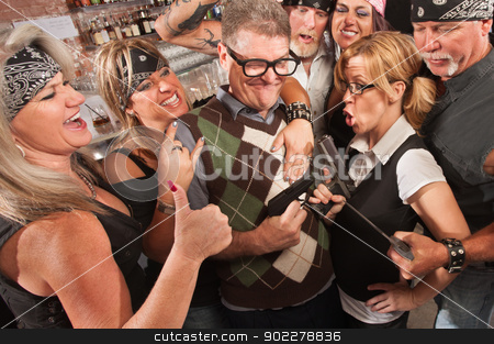 Nerds and Thugs Comparing Weapons stock photo, Nerds and motorcycle gang comparing weapon sizes in bar by Scott Griessel