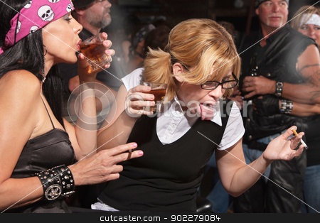 Nerd Reacting to Alcohol in Bar stock photo, Nerd gagging on alcohol while drinking in bar by Scott Griessel
