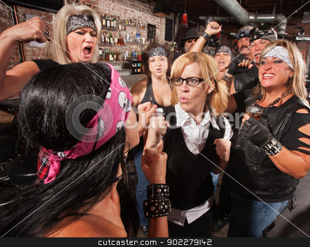 Nerd Fighting Biker in Bar stock photo, Mob of motorcycle gang members cheering on a fight with a nerd by Scott Griessel