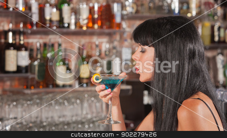 Lady Enjoying Her Martini stock photo, Sexy European woman enjoying her drink in a bar by Scott Griessel