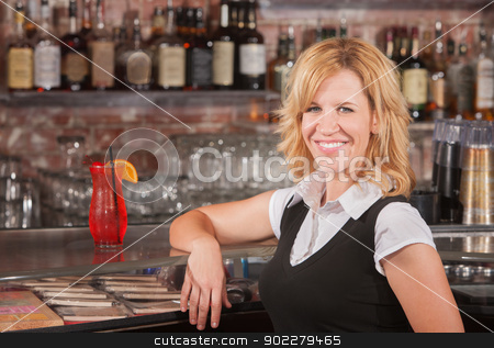 Pretty Blond in Bar stock photo, Pretty blond mature woman with arm on counter at bar by Scott Griessel