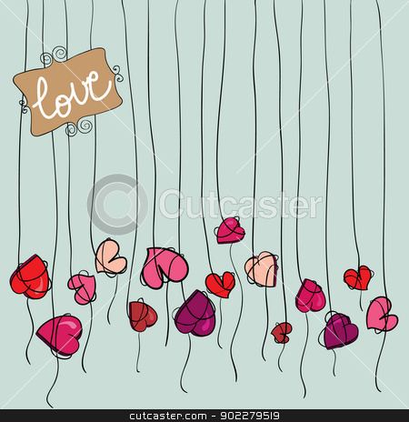 Valentine heart flowers background stock vector clipart, Valentine day spring flowers heart background. Vector illustration layered for easy manipulation and custom coloring. by Cienpies Design