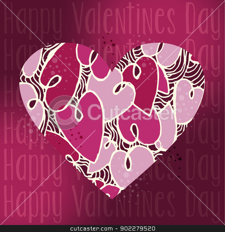 Valentine love heart greeting card stock vector clipart, Valentine day love heart concept greeting card background. Vector illustration layered for easy manipulation and custom coloring. by Cienpies Design