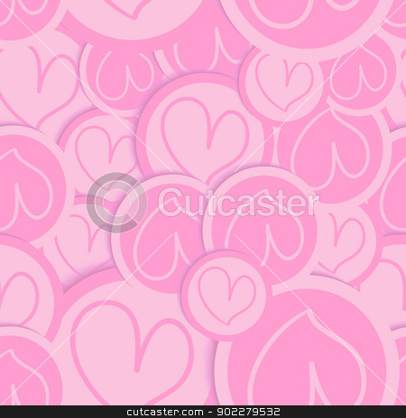 Valentine love heart pattern stock vector clipart, Valentine pink love heart seamless pattern. Vector illustration layered for easy manipulation and custom coloring. by Cienpies Design