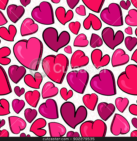 Valentine love heart pattern stock vector clipart, Valentine hand drawn love heart seamless pattern. Vector illustration layered for easy manipulation and custom coloring. by Cienpies Design