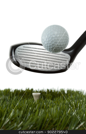 Hitting a golf ball off a tee stock photo, Hitting a golf ball off a tee with a white background by Brayden  Iwasaki