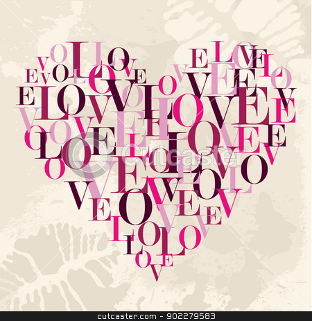 Valentine love text heart stock vector clipart, Valentine day love text heart over grunge background. Vector illustration layered for easy manipulation and custom coloring. by Cienpies Design