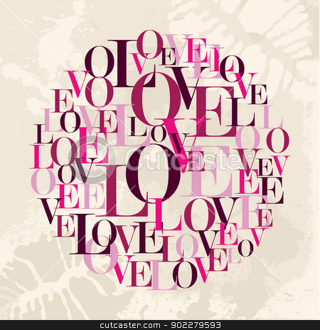 Valentine love text circle stock vector clipart, Valentine day love word circle over grunge background. Vector illustration layered for easy manipulation and custom coloring. by Cienpies Design