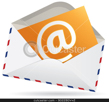 You have got a mail stock vector clipart, Vector e-mail concept, isolated white envelope and at sign by HypnoCreative