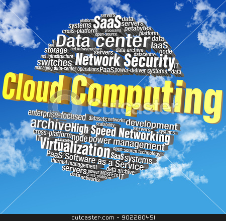 Cloud computing technology word tags stock photo, Cloud computing IT technical word tags in blue sky words are on clipping path  by Michael Brown