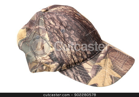 hunting cap stock photo, camouflage hunting cap isolated over white background by coroiu octavian