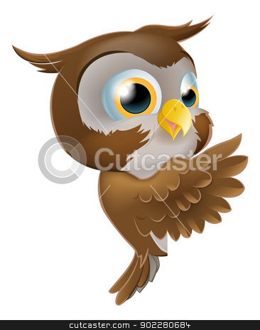 Pointing Cute Owl stock vector clipart, An illustration of a cute cartoon owl character peeking round from behind a sign and pointing or showing what it says by Christos Georghiou