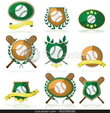 Baseball badges stock vector clipart, Set of shields and badges showing a baseball and other elements by Bruno Marsiaj