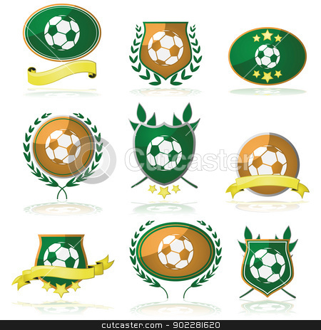 Soccer badges stock vector clipart, Set of badges and seals with a soccer ball inside by Bruno Marsiaj