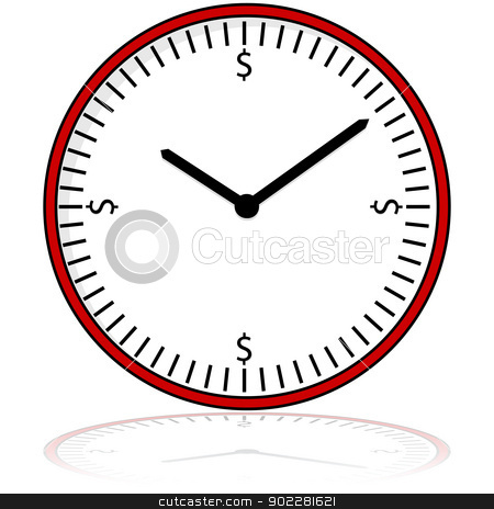Time is money stock vector clipart, Cartoon illustration showing a clock display with dollar signs placed around the dial by Bruno Marsiaj