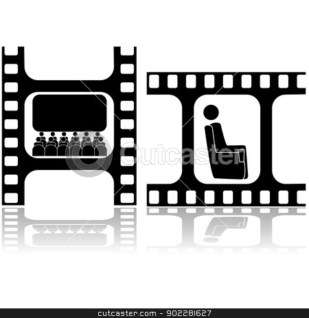 Movie icons stock vector clipart, Two icons showing people watching movies inside a film strip by Bruno Marsiaj
