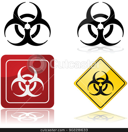 Biohazard sign stock vector clipart, Icon set showing a biohazard sign in four different styles by Bruno Marsiaj