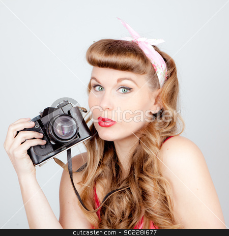 retro woman with camera stock photo, retro woman with analog camera by mandygodbehear