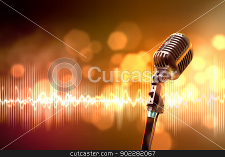 audio microphone retro style stock photo, Single retro microphone against colourful background with lights by Sergey Nivens