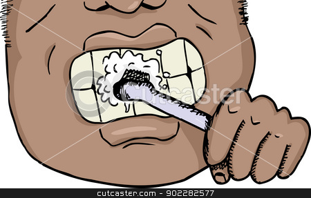 Man Brushing Teeth stock vector clipart, Close up of African man brushing teeth over isolated background by Eric Basir