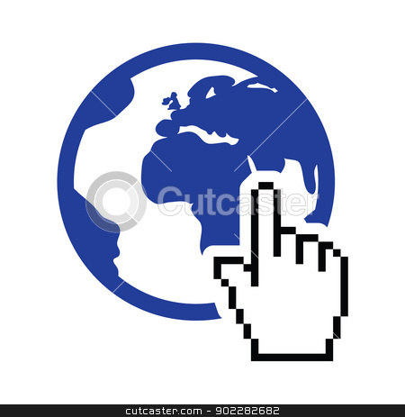 Globe, earth with cursor hand vector icon stock vector clipart, Pixelated hand clicking on the world concept  by Agnieszka Murphy