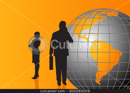 Businessmen and World Globe stock vector clipart, Businessmen silhouettes with a World Globe by dayzeren