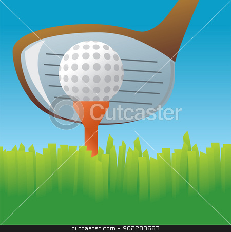 Tee Off stock vector clipart, A vector drawing of a zoomed in golf club ready to tee off on a ball. by Jamie Slavy