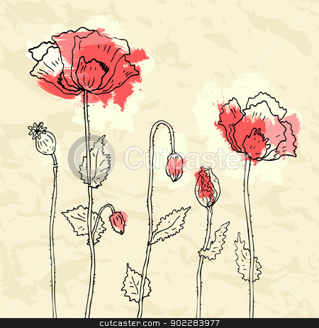 Red poppies on a crumpled paper background stock photo, Red poppies on crumpled paper background. Vector illustration by Katyau