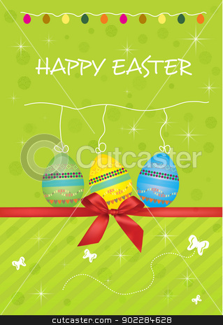 happy easter  stock vector clipart, Happy Easter eggs card by byman designs