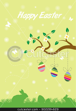 happy easter  stock vector clipart, Happy Easter cute card by byman designs