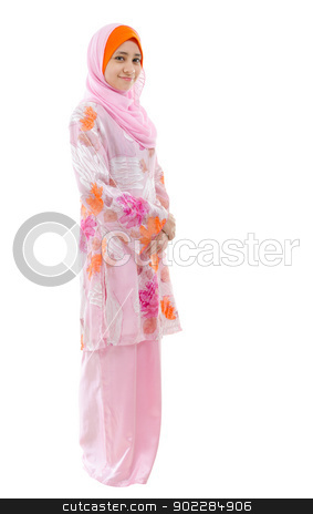 Full body Southeast Asian Muslim girl  stock photo, Portrait of full body Southeast Asian Muslim girl smiling, standing on white background by szefei
