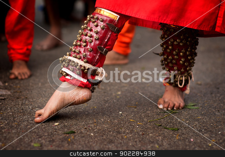 Hindu devotee stock photo, Close up of a devotee's leg at Thaipusam event celebrating Lord Murugan, Batu Caves, Kuala Lumpur, Malaysia by szefei