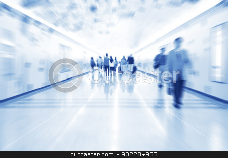 Urban scene stock photo, Busy street in Asia with copy space in blue tone. Purposely blurred with a len. by szefei