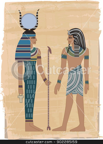 Pharaoh Figures  stock vector clipart, Pharaoh Figures illustrated on papyrus   by dayzeren