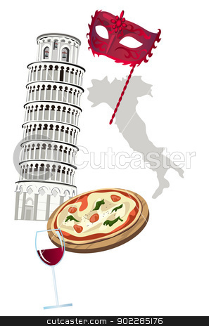 Symbols of Italy stock vector clipart, Symbols of Italy as Pisa tower, pizza, wine, venetian mask  by dayzeren