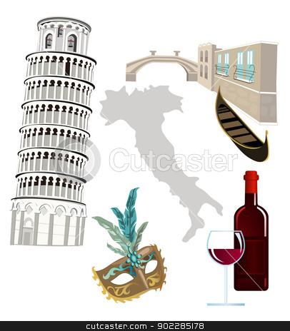 Symbols of Italy stock vector clipart, Symbols of Italy as Pisa tower, wine, venetian mask and gondola by dayzeren
