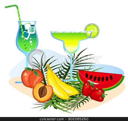 Cocktails and Fruits  stock vector clipart, Exotic drinks and fruits isolated on white background  by dayzeren