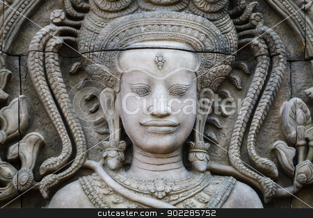 An ancient stone sculpture stock photo, An ancient stone sculpture, close up at face by pattarastock