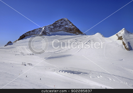 Ski runs on slopes of Hintertux Glacier stock photo, Hintertux Glacier in Zillertal Alps in Austria with ski runs, pistes and ski lifts. by Krzysztof Nahlik