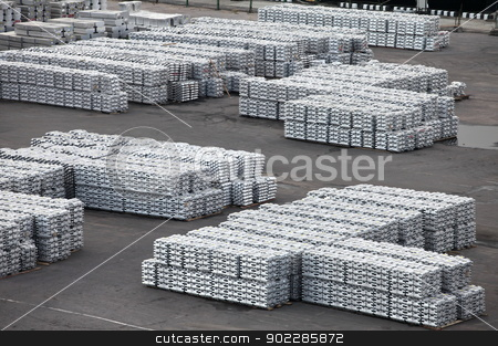 metal warehouse ingots stock photo, the non-ferrous metal ingots  storage in the port by mrivserg