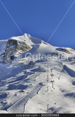 Hintertux Glacier with gondolas and ski pistes stock photo, Hintertux Glacier in Zillertal Alps in Austria with ski runs, pistes and ski lifts at sunset. by Krzysztof Nahlik