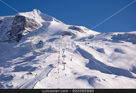 Hintertux Glacier at sunset stock photo, Hintertux Glacier with gondolas, ski runs and pistes in Ziilertal Alps in Austria at sunset. by Krzysztof Nahlik