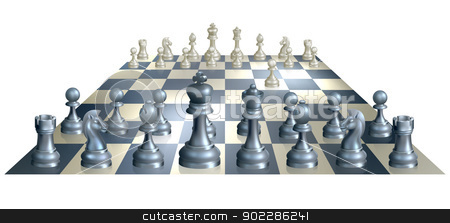 Game of chess illustration stock vector clipart, A complete set of chess pieces and board just after the start of a game with white having made the opening move  by Christos Georghiou