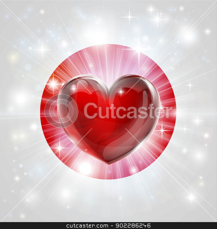 Love Japan flag heart background stock vector clipart, Flag of Japan patriotic background with pyrotechnic or light burst and love heart in the centre by Christos Georghiou